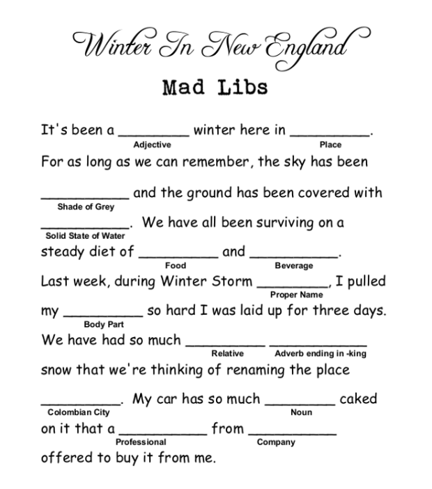 Winter In New England Mad Libs 1