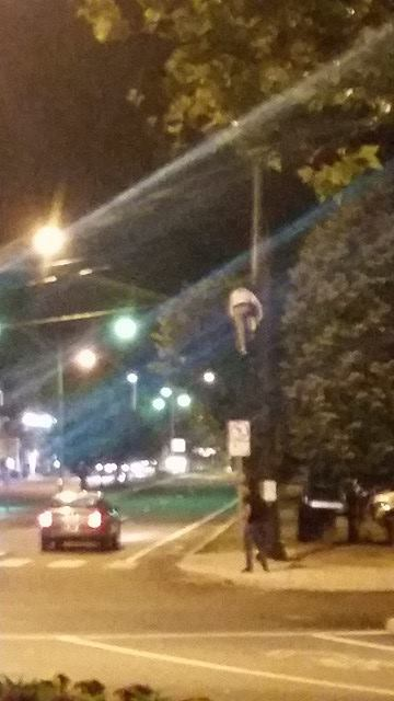 Newport Man On Traffic Light Beam 3