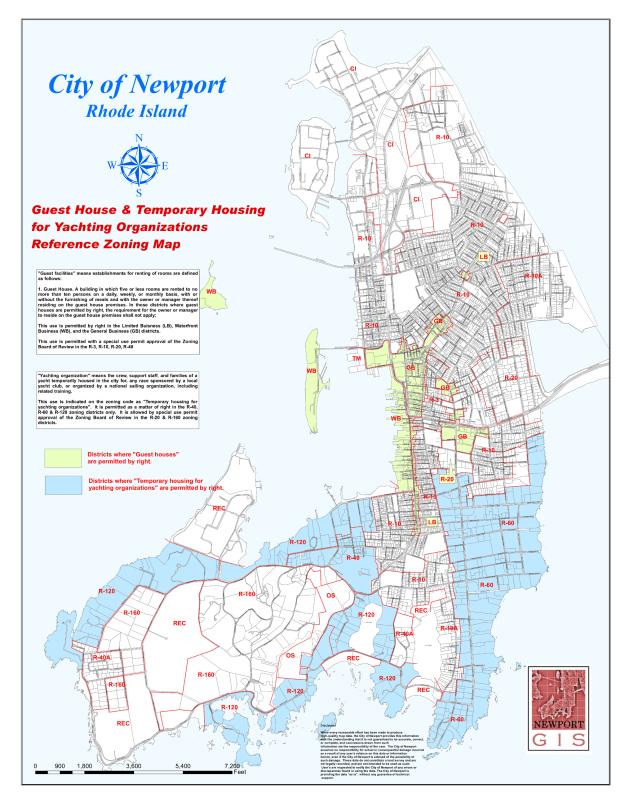 Newport,  RI Guest House Zoning Map