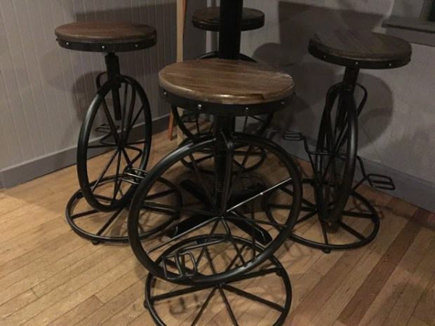 1908 Public House Unicycle Bar Stools