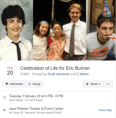 Eric Bulmer Memorial Service Facebook Event