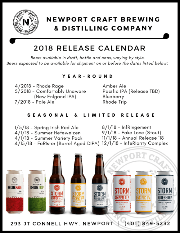 Newport Craft Beer And Distilling Co 2018 Newport Storm Release Calendar