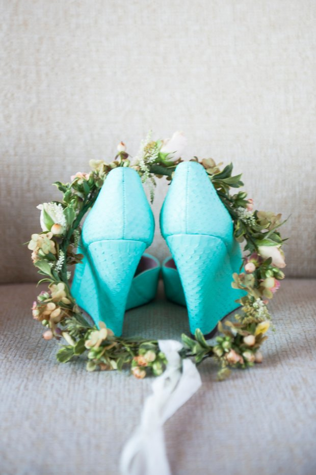 Mint Bride Wedge Shoes and Floral Crown from Helen and Will's Castle Hill Wedding | The Newport Bride