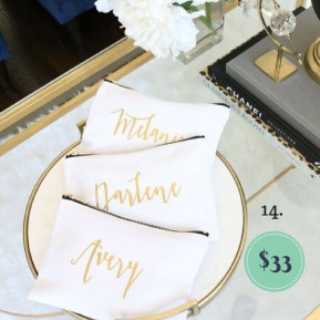 Custom Set of three Cosmetic Bags on the The Newport Bride Holiday Gift Guide | The Newport Bride