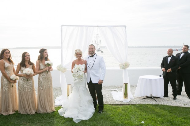 Kristin and Derek's Elegant Glittering Gold and Crisp White Belle Mer Wedding on The Newport Bride a Rhode Island Wedding Blog