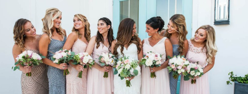 Julia and Peter's Modern Silver and Blush Belle Mer Wedding