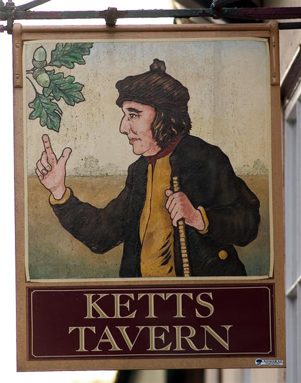 Kett under the Tree of Reformation on pub sign
