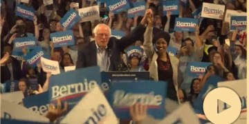 bernie sanders, Ilhan Omar, at Bernie Sanders rally, calls for 'mass movement of the working class' amid 'Lock him up' chants