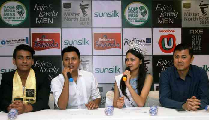 (L-R) Babul Boro, Abhijit Singha, Jessica Marbaniang and Bobby Singh at the press conference by Mega Entertainement