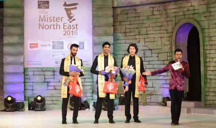 Abhijit Singha announces the winners -- Animesh Pandit (C), Sushanta Rajkumar (R) and Colin Jacob Rajan at 7th Fair & Lovely Men Mega Mister North East