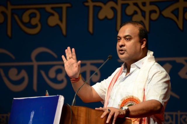 Assam education minister Himanta Biswa Sarma addressing the gathering on Monday