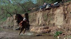 Machine Gun Joe gives chase Roger Corman Death Race 2000 movie car