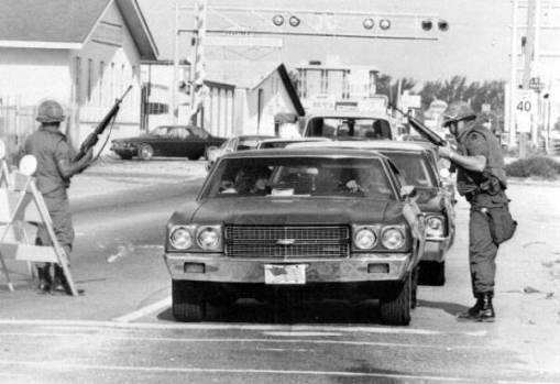Police at a checkpoint in Liberty City in the aftermath of the McDuffie Riots. (Credit: State Archives of Florida)