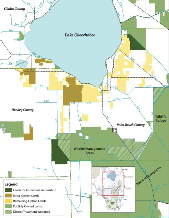 Purchasing land around Lake Okeechobee is essential for Everglades restoration. This map shows initial opportunities for purchase. (Courtesy Everglades Foundation)