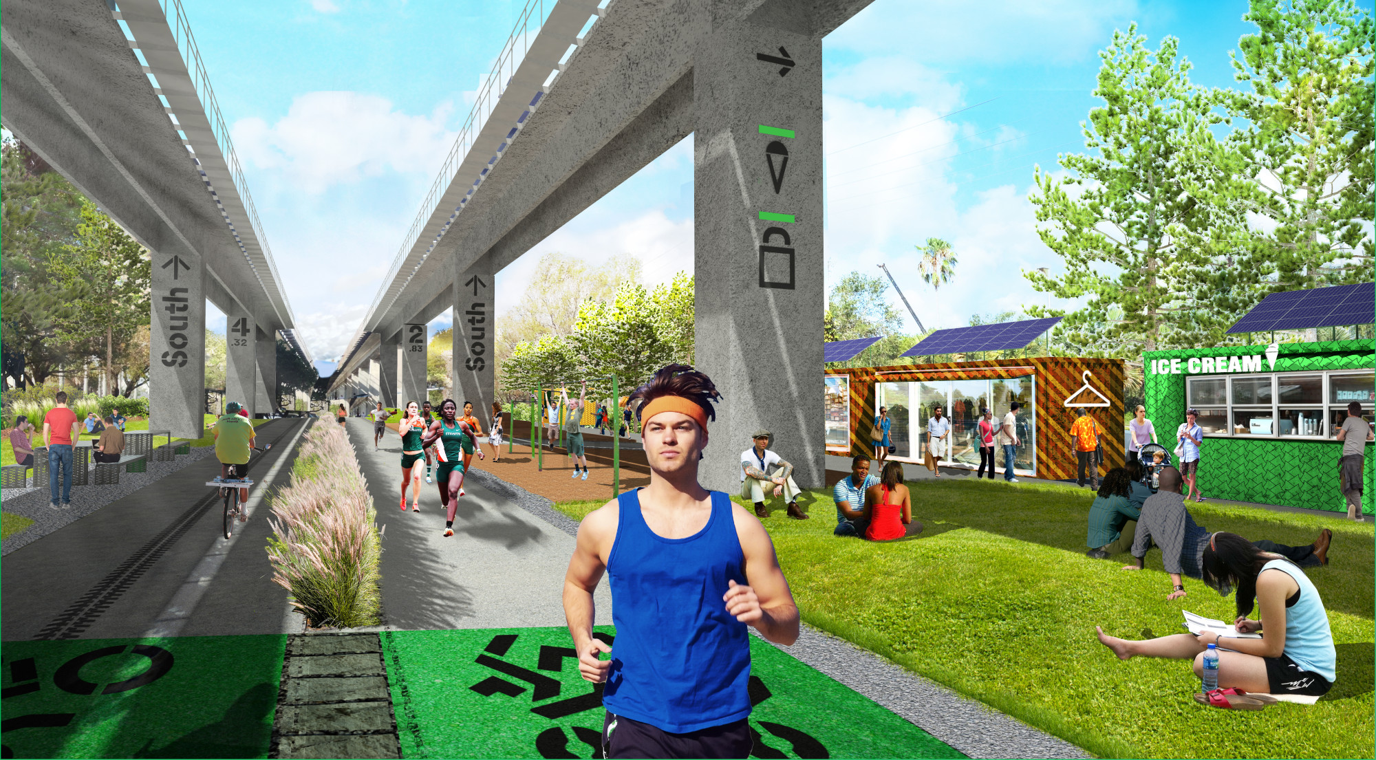 The future Underline at University Metrorail station will have space for small gatherings and temporary pop-ups to serve as a small- business incubator for nearby entrepreneurs. (Courtesy of James Corner Field Operations and Friends of The Underline)