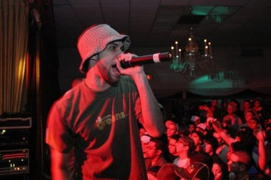 Rudi Goblen and Wrekonize opening up for Def Jux (El-P, AESOP Rock, and Mr. Lif) at the Polish American Club in 2005. (Courtesy of Rudi Goblen)