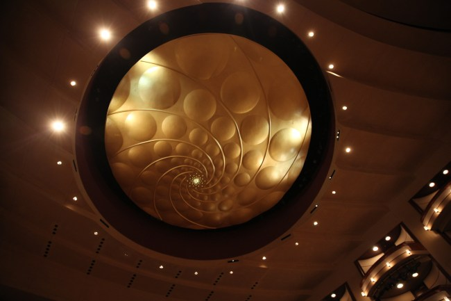 Ceiling of the Adrienne Arsht Center. (Courtesy of Daniel Azoulay for Florida Grand Opera)