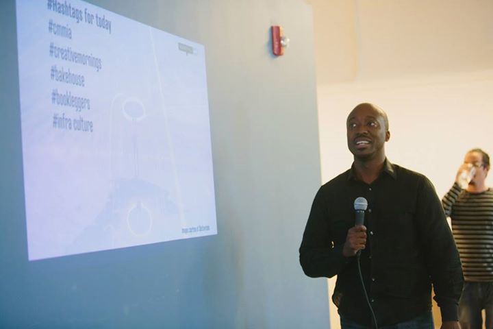 "Malik Benjamin hosting CreativeMornings. The theme was ""Action."" (Courtesy of Catalina Ayubi Photography/Creative Mornings Miami Facebook)"