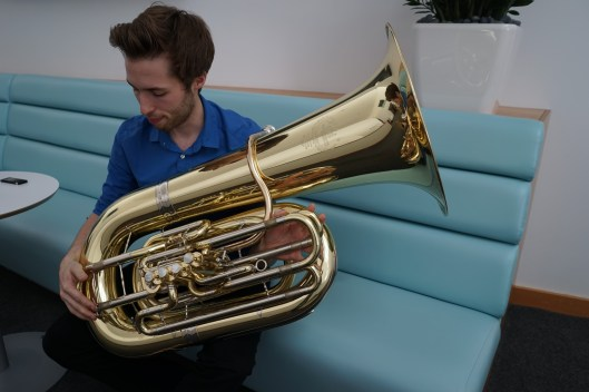 The tuba comes fully assembled.
