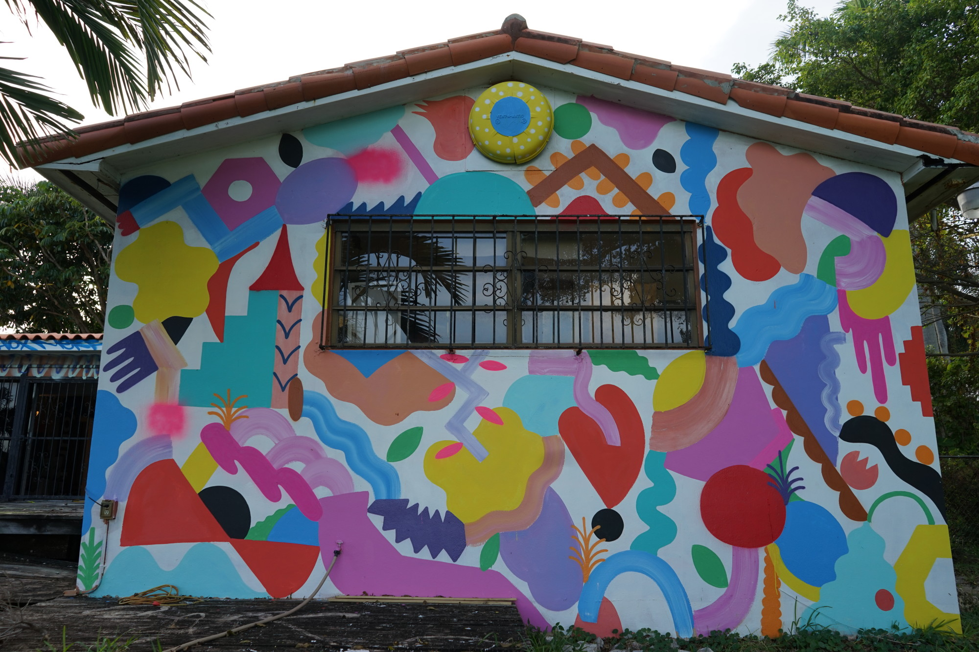 A mural on the back wall of the house, facing Biscayne Bay.