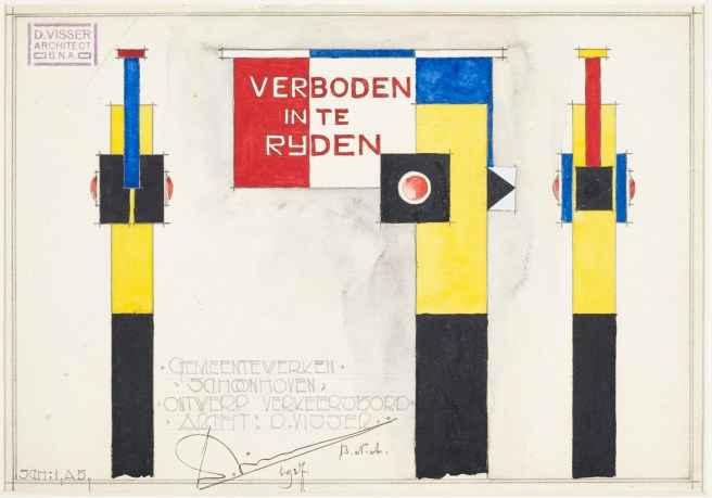 Verboden in te Rijden [Do Not Enter], created in 1927 for the Public Works Department of Schoonhoven, The Netherlands. (Courtesy of The Wolfsonian–FIU, The Mitchell Wolfson, Jr. Collection)