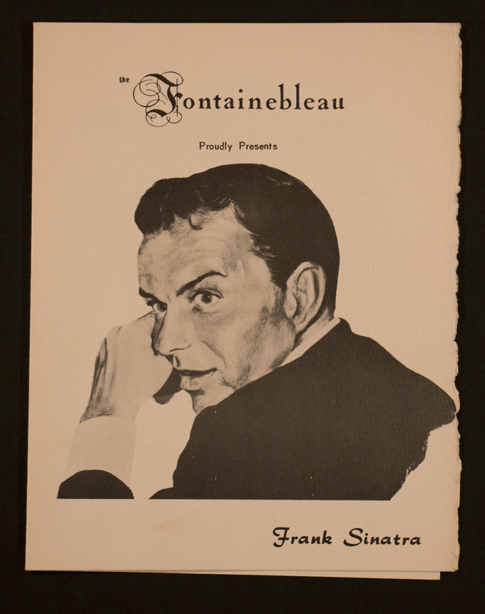 A menu cover at the Fountainebleau featuring Sinatra. (Courtesy of HistoryMiami)