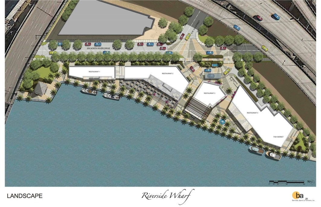 Aerial view of the proposed Riverside Wharf (Courtesy of Riverside Wharf LLC)