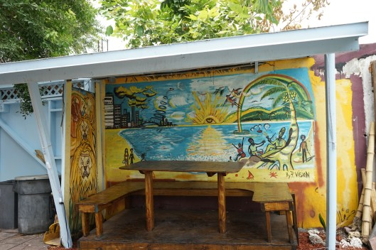A mural in the garden at Naomi's.