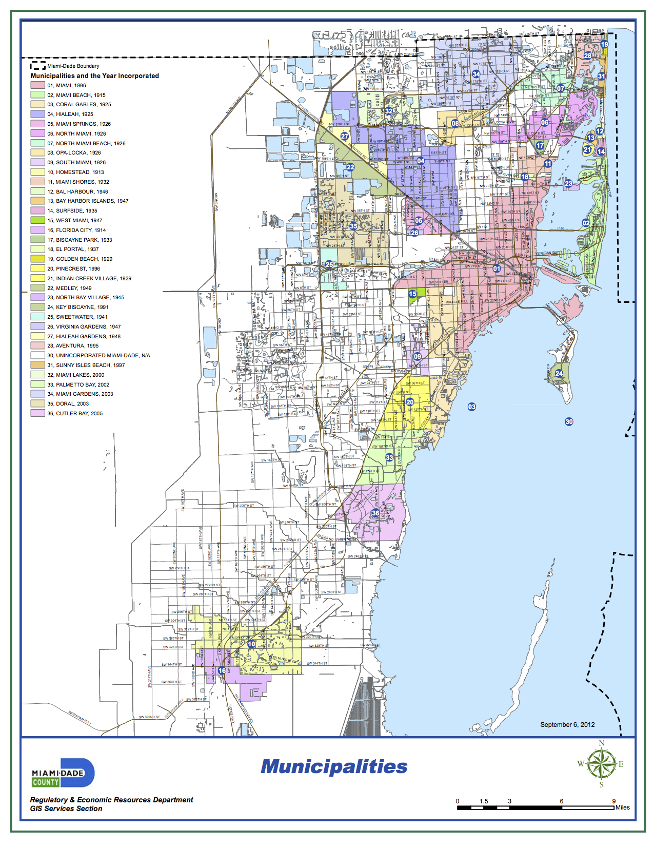 These are Miami-Dade's municipalities. There's 34, and 35 if you include the unincorporated region as a municipality. (The county map skips the number 29 for any of you confused map nerds.)