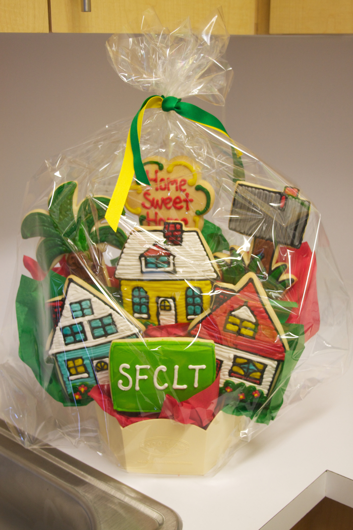 """""""Welcome Home"""" basket at the grand opening of the Wilton Manors remodel (Courtesy of Community Land Trust)"""