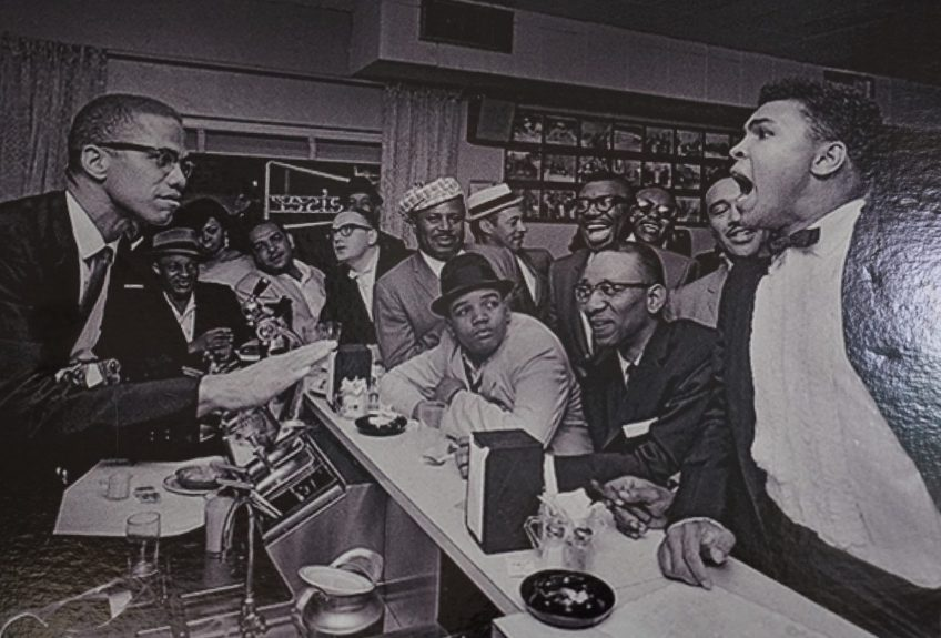 Muhammad Ali and Malcolm X during his victory party at the Hampton House (Courtesy of the Hampton House)