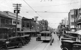 Trolley on Flagler Street (Miami, Fla.) 1920-1930. (HistoryMiami)
