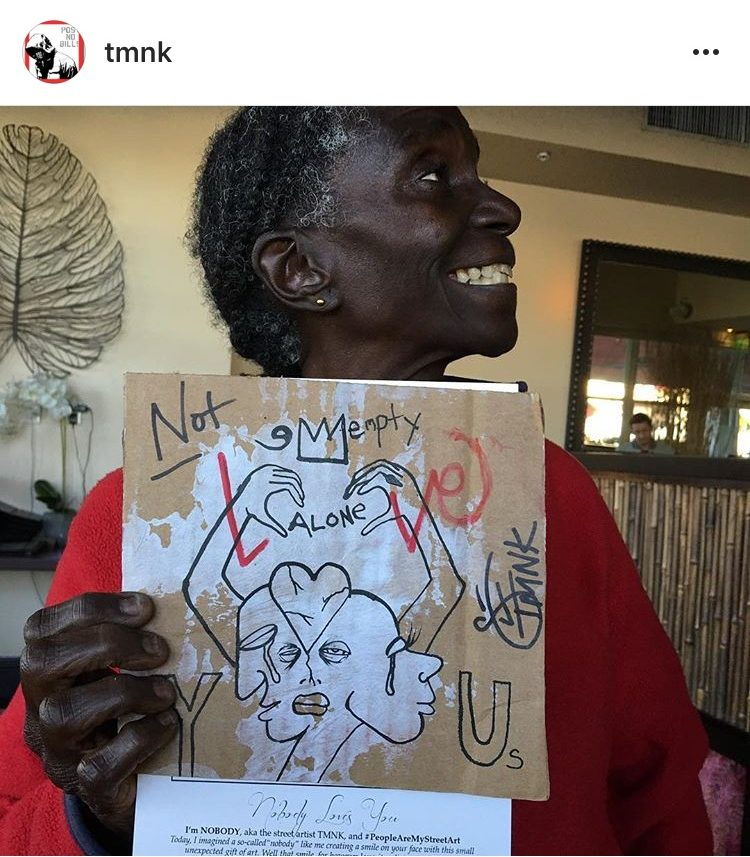 Nobody drew art and gave it to anyone he saw to make them smile. He gave this piece to a homeless woman in Wynwood.