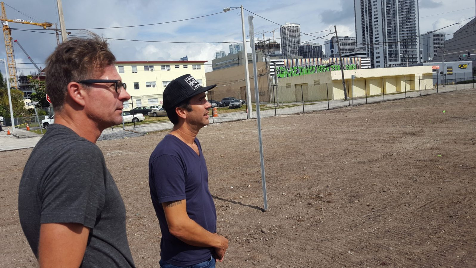 Artist Michael Loveland and Omni Park's Brad Knoefler discuss the PAMM installation to be created by Loveland. (Courtesy of Aaron Glickman)