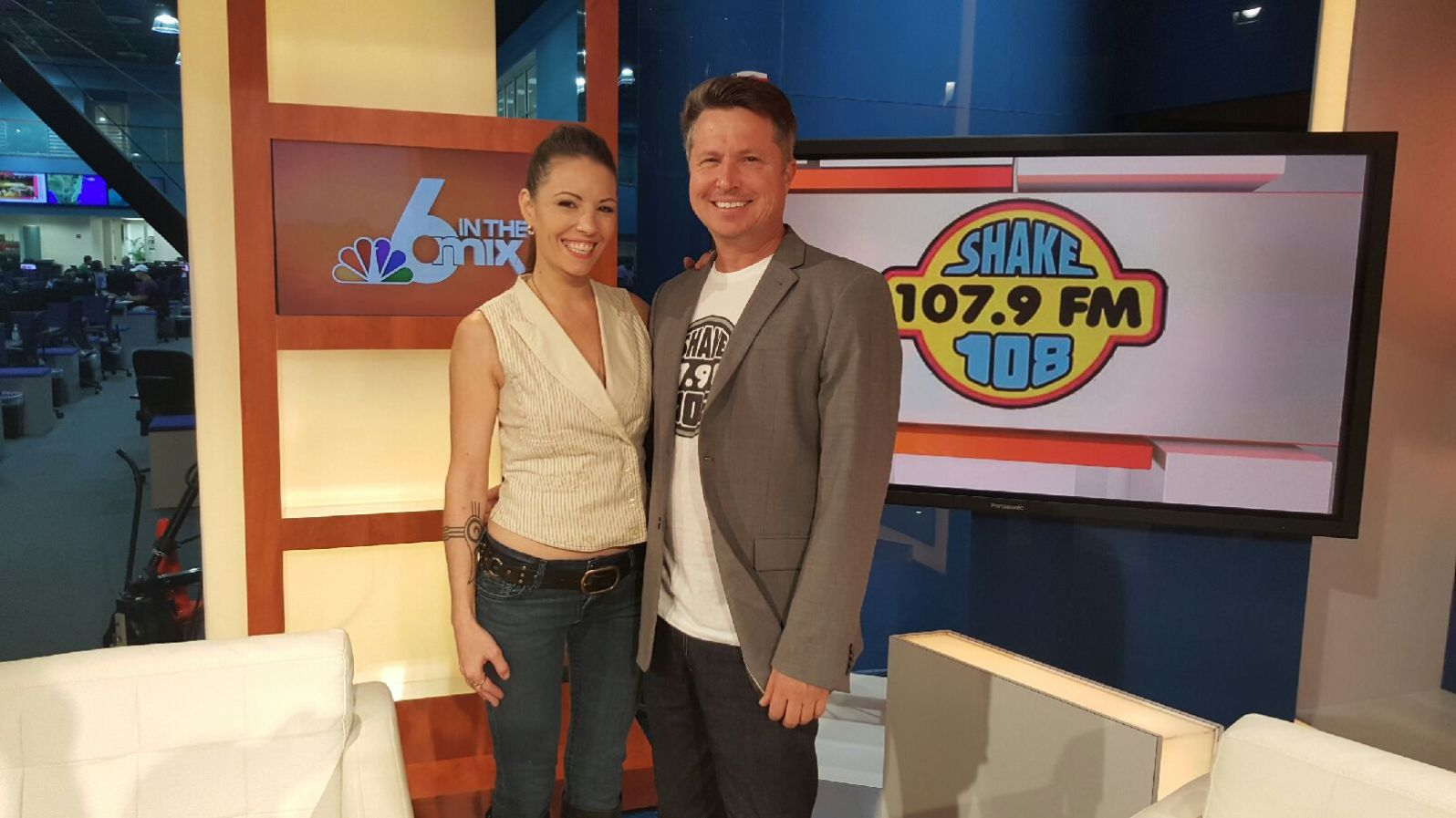 Shake 108's Aimee Beah Moore and Freddy Stebbins at NBC's 6 in The Mix.