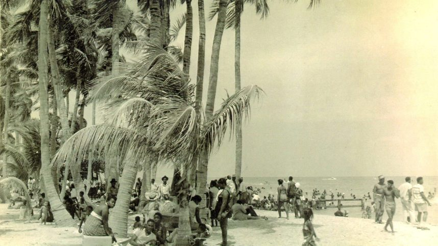 Beachgoers hang out on the beach. (Courtesy of the Historic Virginia Key Beach Trust)