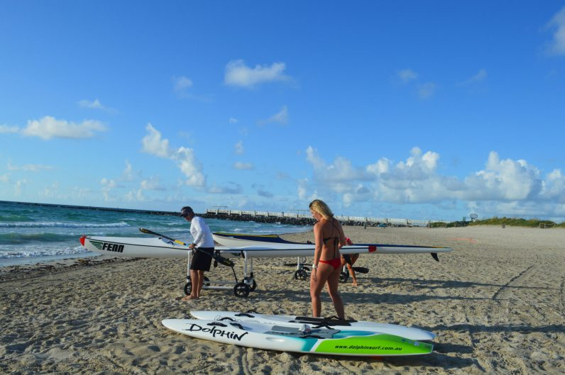 Miami Beach Ocean Rescue Lifeguards prepare their Surf Ski's before their workout.