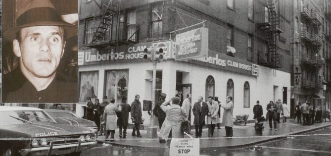 1972 - Umberto's Clam House. Police cordon off the street after the early morning gangland murder of Crazy Joe Gallo.