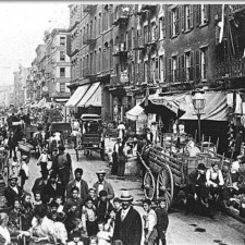 The teeming tenements of New York's Little Italy. The streets were jam-packed with townspeople daily.