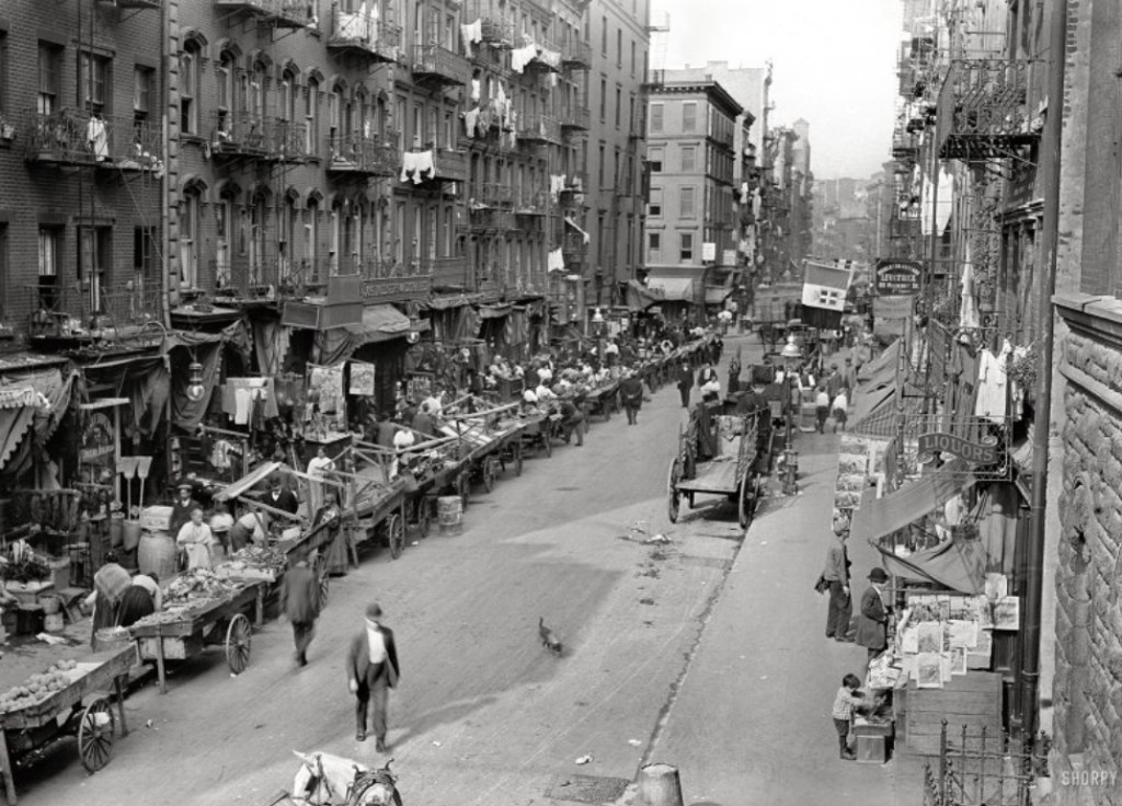 If there was only one photo available to explain what New York's Mulberry Street area looked like, THIS would be it! Note the laundry hanging out of the apartment windows and along the fire escapes. The vendors pushcarts all loaded lining the curbs, the horse and wagon ready for local deliveries, and residents going about their day.