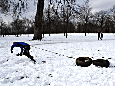 Dragging tyres through the snow in Hyde Park - Dorothy Tomalin