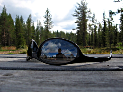 Obligatory sunglasses shot, in a Swedish forest