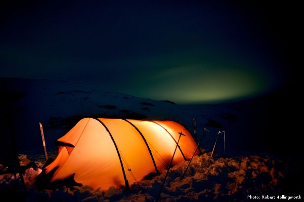Illuminated tent at night (Photo: Robert Hollingworth)