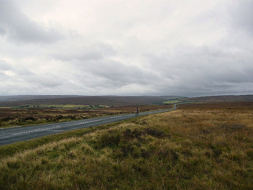 Cycling through Yorkshire moorland