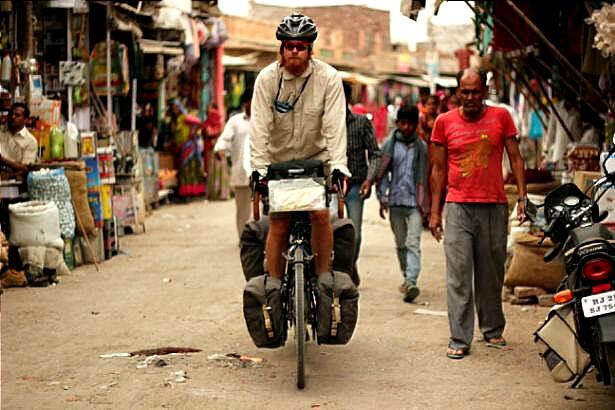 Cycling through an Indian town