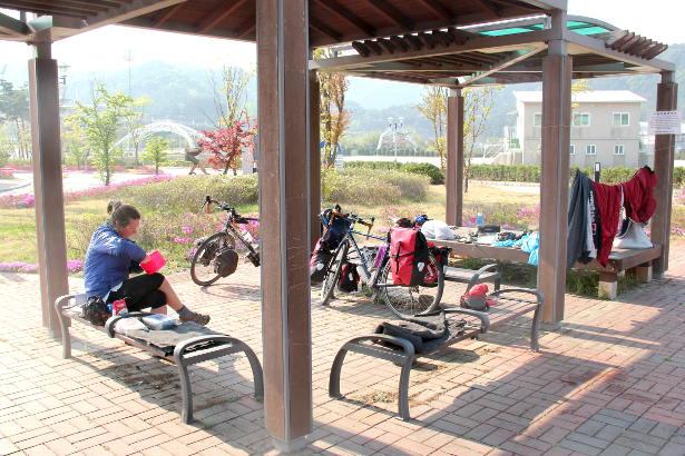 Bivvying under a pagoda in South Korea