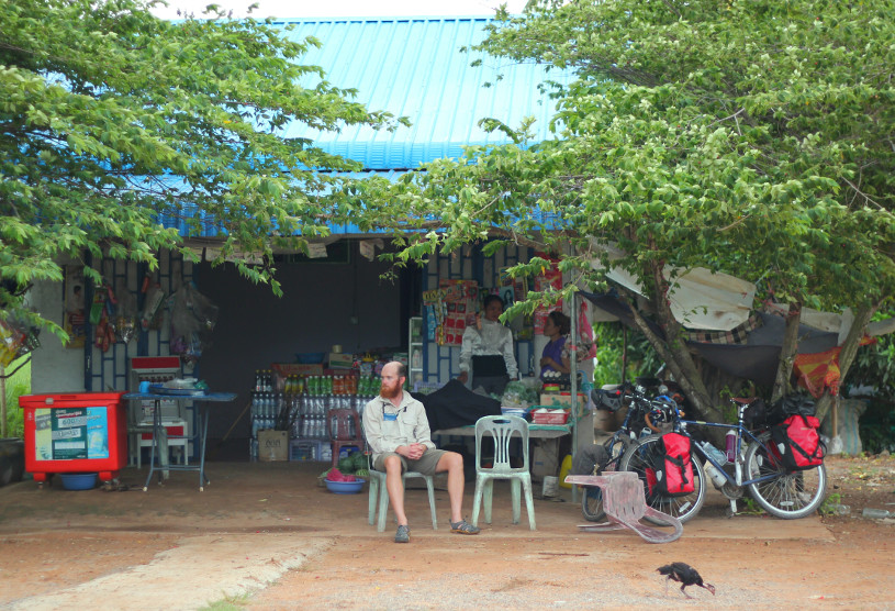 Cambodian cafe stop while cycling around the world