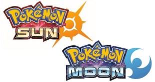 Pokemon Sun and Pokemon Moon logos on white backgrund
