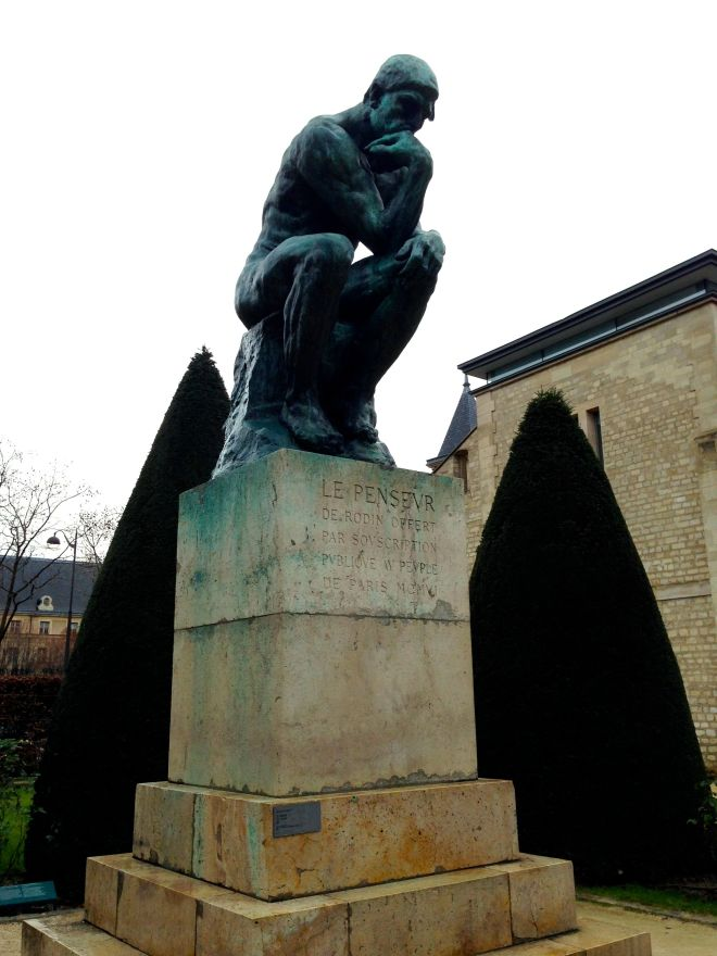 """Rodin's """"The Thinker"""" pondering his goals for the New Year."""