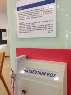 And if that's not your thing, a good old fashioned paper suggestion box